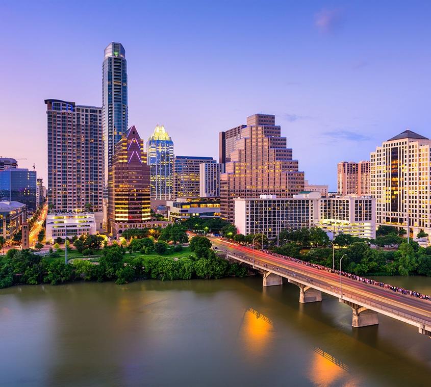 Austin city skyline at dusk