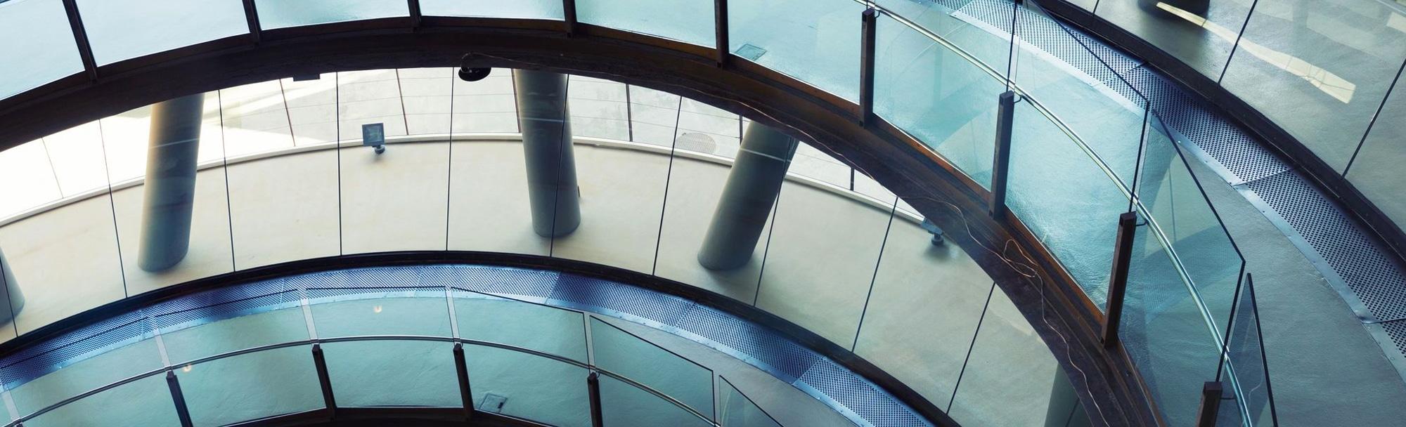 close-up of an office building atrium walkway